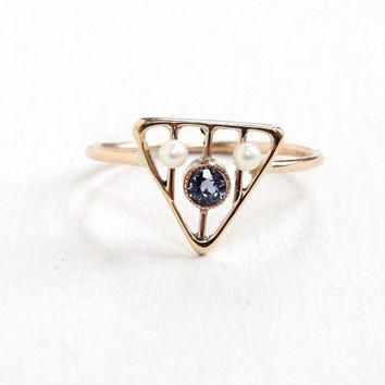 Antique Art Deco 10k Yellow Gold Triangular Genuine Sapphire & Seed Pearl Ring- 1920s