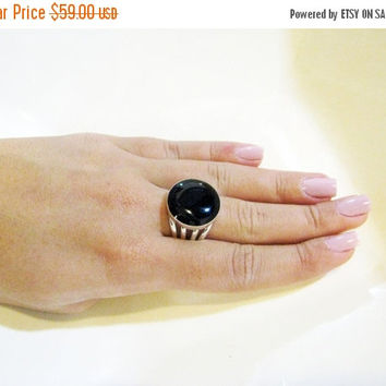 Onyx Ring, Silver Ring, Round Ring, Unique Ring, Statment Ring, Women Ring,Onyx Stone, Gift For Her, Evening Jewelry, Round Silver Ring, 925
