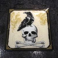 Black Crow and Skull Crossbones Glass Plate