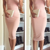 Ribbed Long Tube Dress - Baby Pink