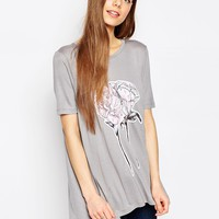 ASOS T-Shirt In Swing Fit With Flower Print at asos.com