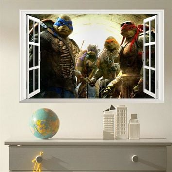 popular movie ninja turtles window wall decals for kids room cartoon wall stickers home decoration art boys wall paper posters