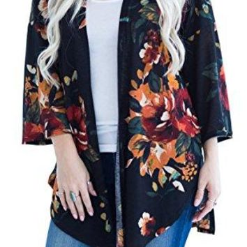 Hibluco Womens Fashion Long Sleeve Floral Printed Open Cardigan Jacket Outwear