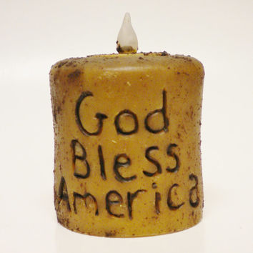 Grubby Candle, God Bless America Battery Operated Tea Light Candles, Hand Poured Primitive Candles, Golden Tan Candles