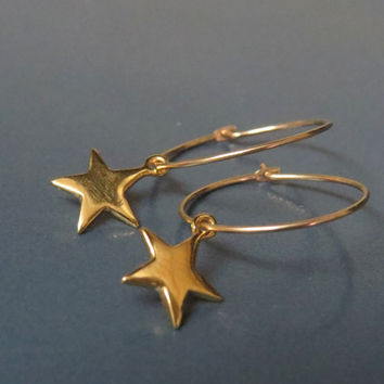 Gold star earrings, Dainty gold earrings hoops, Minimalist jewelry gold hoop earrings