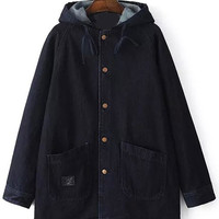 Navy Big Pockets Hooded Denim Coat