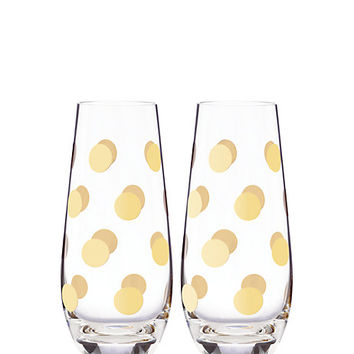 pearl place dot stemless champagne glass set