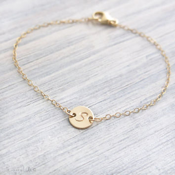 Dainty Initial Disc Bracelet - Customized Bracelet, Gold Filled Bracelet, Tiny Monogram Bracelet, Small Gold Bracelet, Bridesmaid Gift