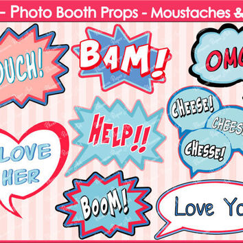 Printable Photo Booth Props - DIY - Speech Bubbles - Printables - Weddings - Parties - DIY Photo Booth Props - 1605