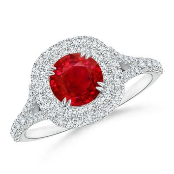 Secured Prong Ruby and Diamond Double Halo Ring