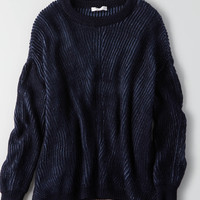 Don't Ask Why Chunky Side Slit Sweater, Blue