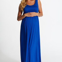 Royal-Blue-Basic-Maternity-Maxi-Dress