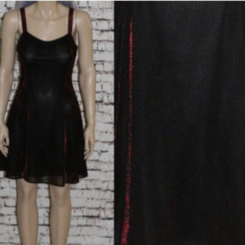 90s party dress Metallic cyber goth grunge gothic punk Y2K mesh sheer Prom Cocktail S red black ice skater