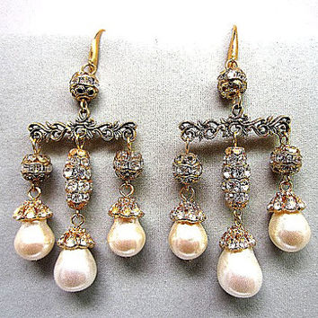 Sparkling Earrings Baroque Glass Pearl Crystal Gold Chandeliers Bridal Prom Weddings OOAK Miriam Haskell