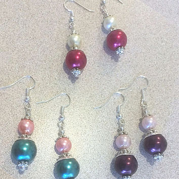 Fancy Two-tone Glass Pearl Earrings with Layered Silver Bead Caps, Colored Pearl Earring w/Silver Accents Handmade Pearl Wedding Jewelry