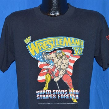 1991 WWF Wrestlemania VII Hulk Hogan Rules LA Coliseum t-shirt Medium