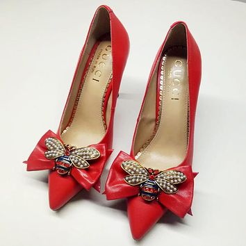 GUCCI high quality new fashion diamond pearl bee bow 9 cm high heels shoes women Red