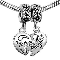 Pugster Silver Mother Daughter Heart Dangle Charms. Fits European Charm Bracelets (Pandora, Persona, Biagi, Chamilia, Dione & Trollbeads)
