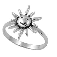 925 Sterling Silver Smile of the Sun Solitaire Ring