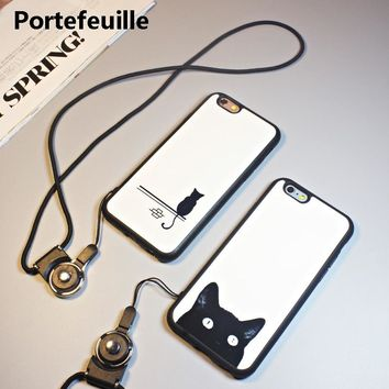 Portefeuille For iPhone 8 Plus Case Cute Cat with Lanyard Neck Strap Back Cover For iPhone 7 X 6 6S 5 5S SE 10 Coque Accessories