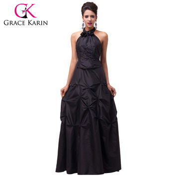 Grace Karin Long Black Formal Evening Dresses Women Elegant Party Dress Halter Robes De Soiree Taffeta Dinner Evening Gowns