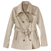 Coffee Shop Petites Outerwear Long-Sleeve Trench Coat - Khaki