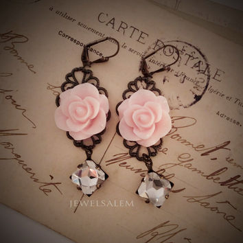 Pink Earrings Bridal Jewelry Pastel Pink Blush Flower Dangling Earrings  Vintage Style Rhinestone Filigree Modern Victorian Romantic Wedding
