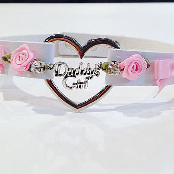 sale daddys girl faux leather lolita bow rhinstone and roses day collar heart ddlg WHITE AND PINK edition