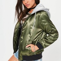 Missguided - Khaki Hooded Satin Bomber Jacket