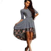 Stripe Floral Print Sleeve Asymmetrical Dress
