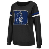 Duke Blue Devils Ladies Tailgate Boatneck Pullover Sweatshirt - Black