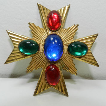 SOLD-Vintage 1980s Miriam Haskell Maltese Cross Huge Pin Brooch Goldtone Glass Cabochon Stones