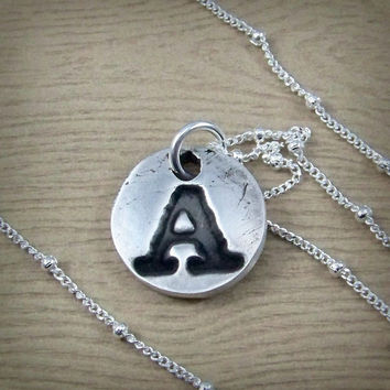 A Initial Necklace - Ready to Ship - Antique Script Necklace - Fine Silver Monogram Jewelry - Handmade A Monogram -  Letter A Pendant