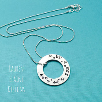 Custom Hand Stamped Coordinates Aluminum Washer Necklace- Add Your Own Latitude Longitude/Coordinates- Choose Font, Chain, and Charm Metal