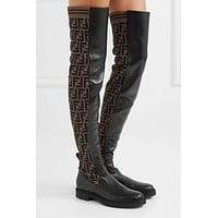 FENDI Side FF printed leather long tube over the knee boots