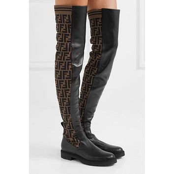 FENDI Autumn Winter Newest Popular Women F Letter Logo-Jacquard Stretch-Knit Leather Over-The-Knee Boots
