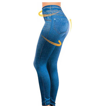 HuMore 2016 Leggings Jeans for Women Denim Pants with Pocket Slim Jeggings Fitness Plus Size Leggings S-XXL Black/Gray/Blue