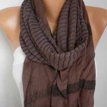 Coffee Cotton Tartan Scarf,So soft,winter shawl,Mocha Plaid Men Scarf, Cowl,Gift Ideas for her him,fashion accessories