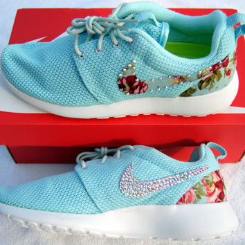 Nike Roshe Run Shoes - Combo Fabric & Swarovski Crystals-Women's