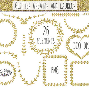 CHRISTMAS SALE - 20% OFF. Gold Digital Wreaths Clip Art. Gold Glitter Laurels Clip Art. Mettalic Sparkle Vine Frames and Borders.