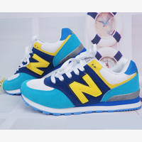 New balance abric is breathable n leisure sports Couples forrest gump running Blue-Yellow