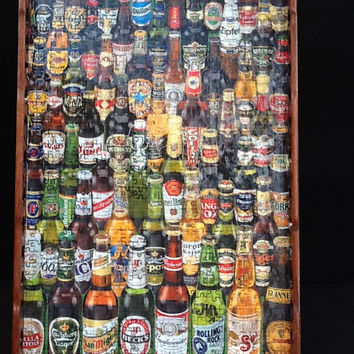 Beer Around the World Framed Wall Decor, Man Cave, Gift for Him, Bar Decor, Unique Gift Idea, Home Decor
