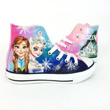 Disney Frozen with Elsa and Anna on pink hi top converse