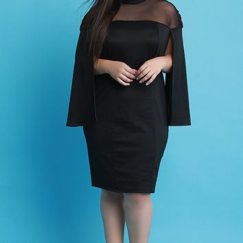 Mesh Yoke Cape Sleeves Bodycon Dress