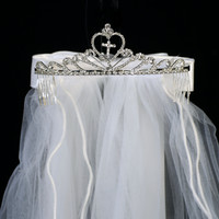 Cross in a Heart Centered Rhinestone Crown Tiara with White Veil First Holy Communion (One Size Girls)