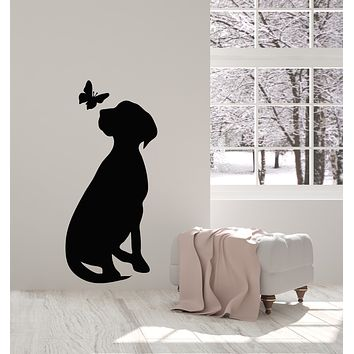 Vinyl Wall Decal Dog With Butterfly Silhouette Pet Home Animals Stickers Mural (g1315)