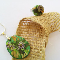 Collage Jewelry Set  Green pendant  Flower Collage  pendant & ring  Passiflora flower collage  Handmade unique clay Pendant and Ring set