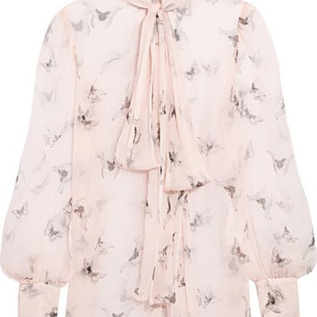 Alexander McQueen - Pussy-bow printed silk-crepon blouse
