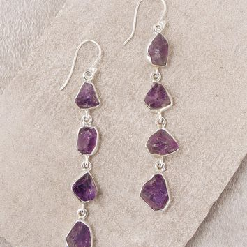Amethyst Four Crystal Earrings