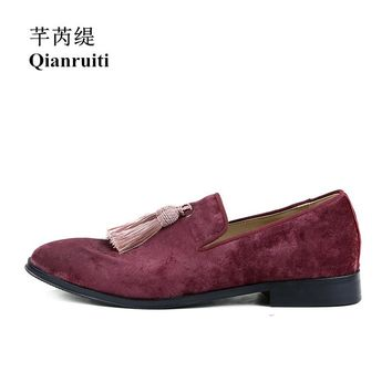 Qianruiti Men Suede Tassel Shoes Slip-on Loafers Fringed Flat Luxury Handmade Smoking Casual Shoes for Men Chaussure Homme